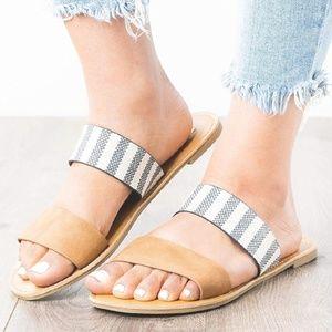 Flat Sandals Slip-on Double Strap Open Toe